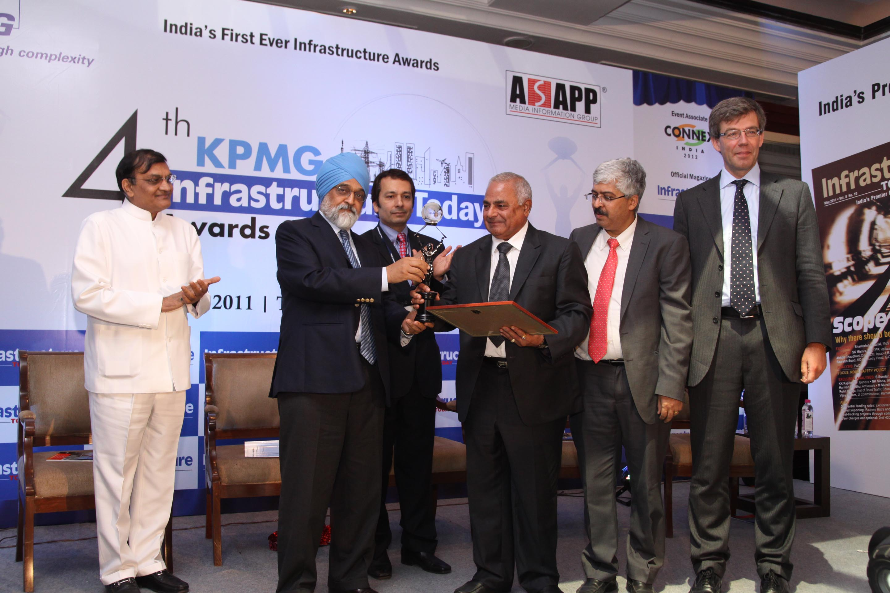 Most Admired Developer Award in Transport Sector at 4th KPMG Infrastructure Today Awards